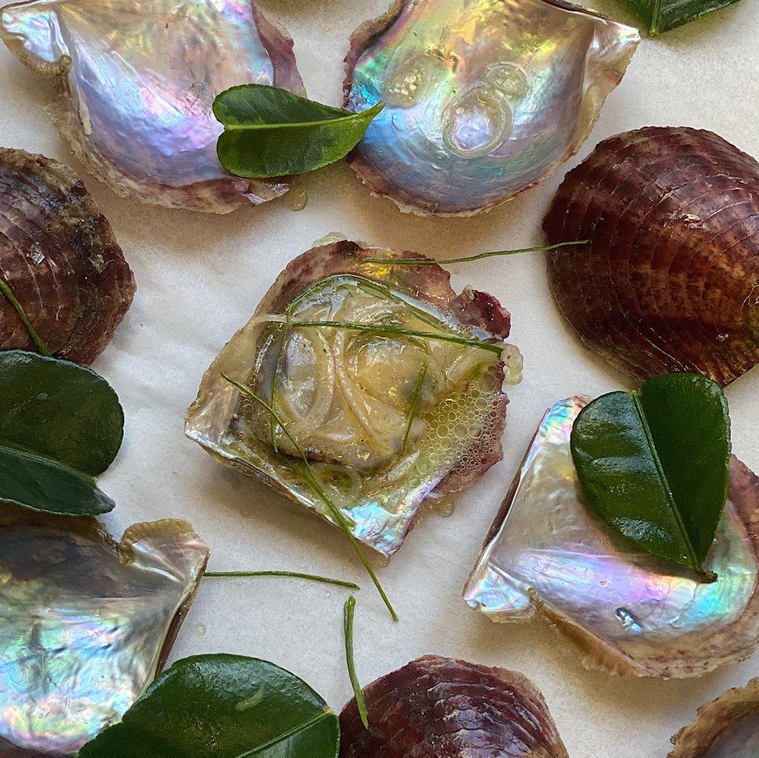 Leeuwin Coast Akoya with Kaffir Lime Leaf and Shallot Oil<br/><br/>By Amy Hamilton<br/>Liberté